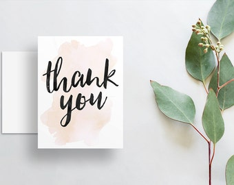 Instant Download Watercolor Splash Thank You Cards / Cream Neutral Champagne Watercolor / Brush Hand Lettering / Digital Print-at-Home File