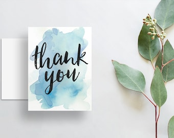 Instant Download Watercolor Splash Thank You Cards / Bright Blue Watercolor / Brush Hand Lettering / Digital Print-at-Home File