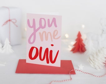 you me oui greeting card // valentines day card // hand lettering // hand lettered // printed
