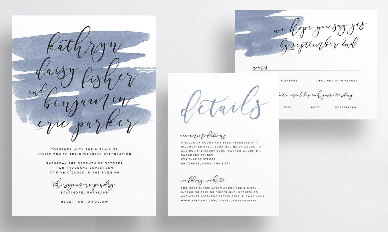 Dark Blue Wedding Invitations: Simple Calligraphy Wedding Invites / Dark Slate Blue
