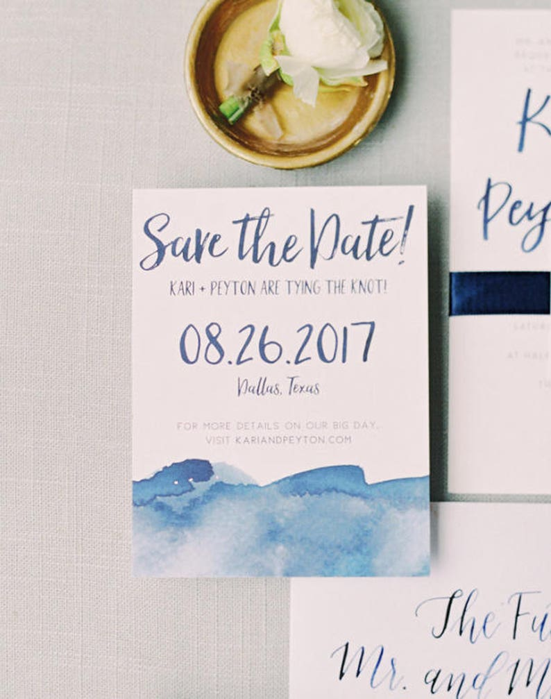Watercolor Ombre Save The Dates / Navy Blue Aqua Red Sand image 0