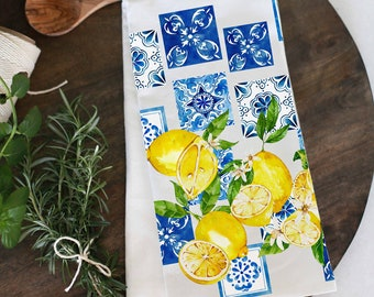 Mediterranean inspired with blue tiles and lemons