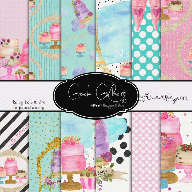 Hand Painted Digital Paper Pattern Printable Planner Stickers image 0