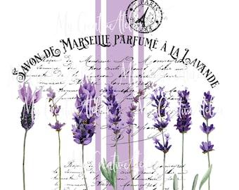 French vintage label inspired Lavender EXCLUSIVE sublimation PNG design. Sublimation digital design. Watercolor French sublimation