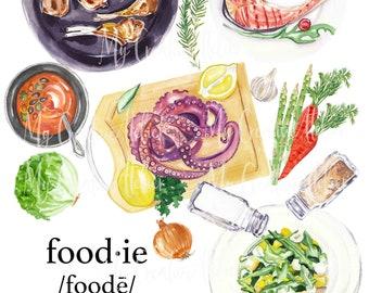 Foodie watercolor design sublimation PNG food design