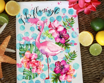 Ready to print PNG Fun Flamingo watercolor design colorful design  instant download