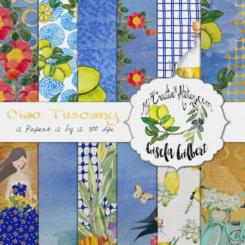 Watercolor digital Paper Pack. Ciao Tuscany image 0
