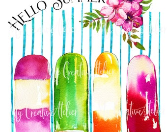 Popsicles Summer-inspire sublimation design high quality PNG files