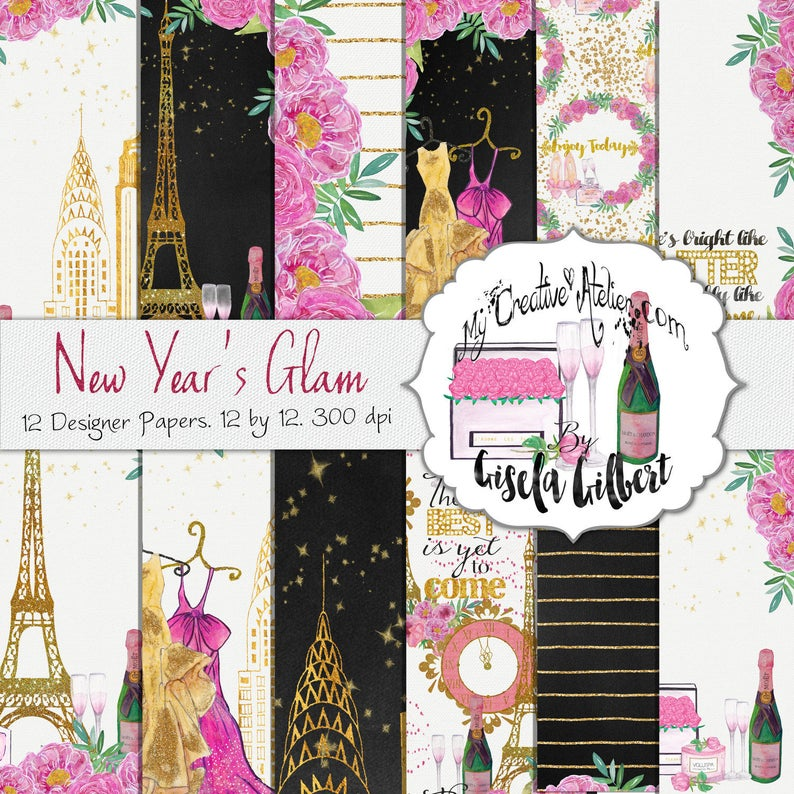 Digital Glam Paper. New Year's Glam image 0