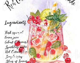 Currant lemonade recipe summer inspired watercolor design High quality PNG file transparent background