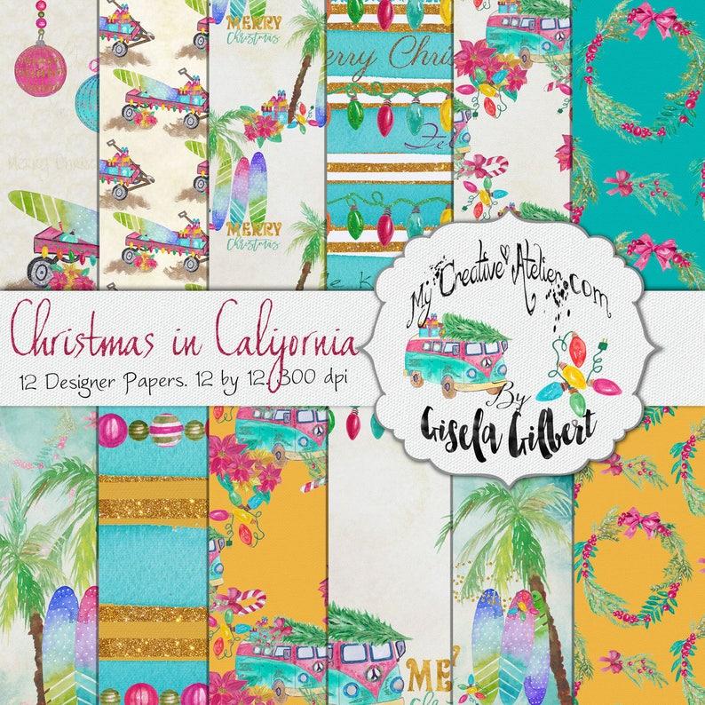 Digital Christmas Paper. Christmas in California image 0