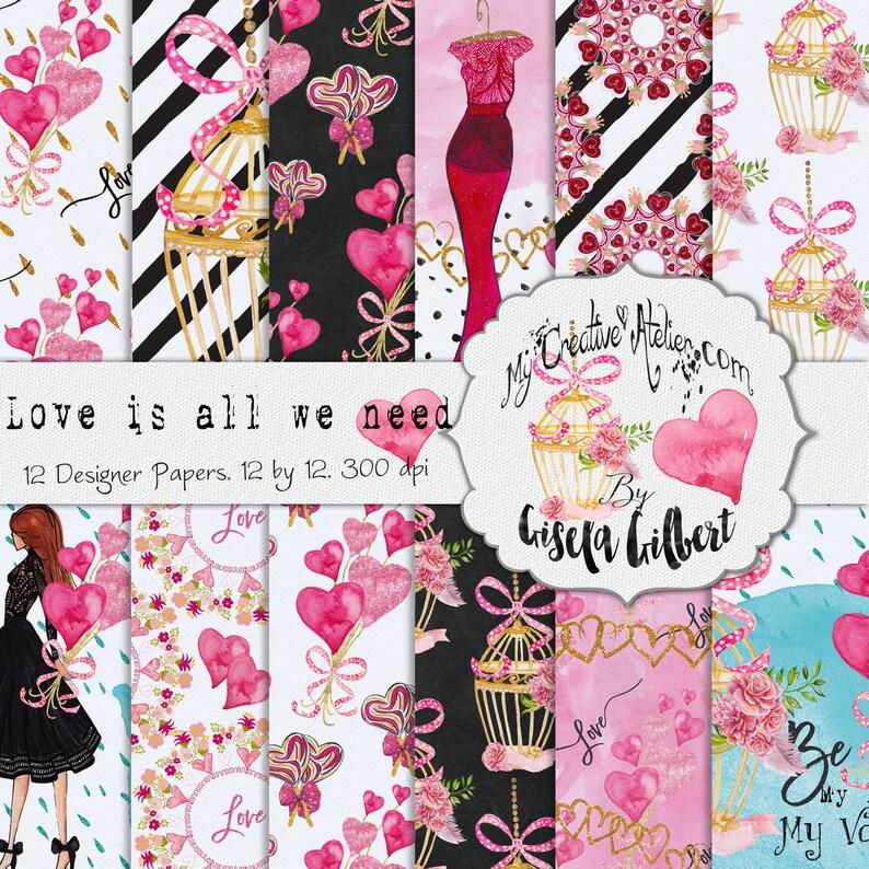 Valentines Digital Paper. Printable patterns planner stickers image 0
