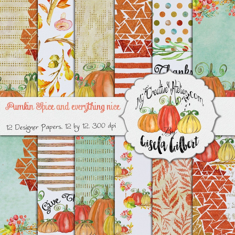 Thanksgiving Digital paper Glitter and Waterlcolor pack . image 0