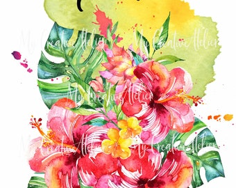 Aloha! Colorful Hawaiian inspired  watercolor Hibiscus Flower sublimation or wall art!