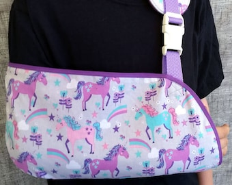 Child Arm Sling - Unicorns and Rainbows Arm sling - Toddler, Child and Adult sizes- Sling for broken arm or collarbone