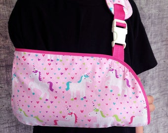 Child Arm Sling- Pink Unicorns Arm sling - Toddler, Child and Adult sizes- Sling for broken arm or collarbone