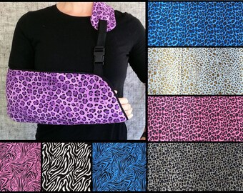 Animal Print Arm Sling - Adult arm sling - Child arm sling - Zebra, Leopard, Cheetah, Cow