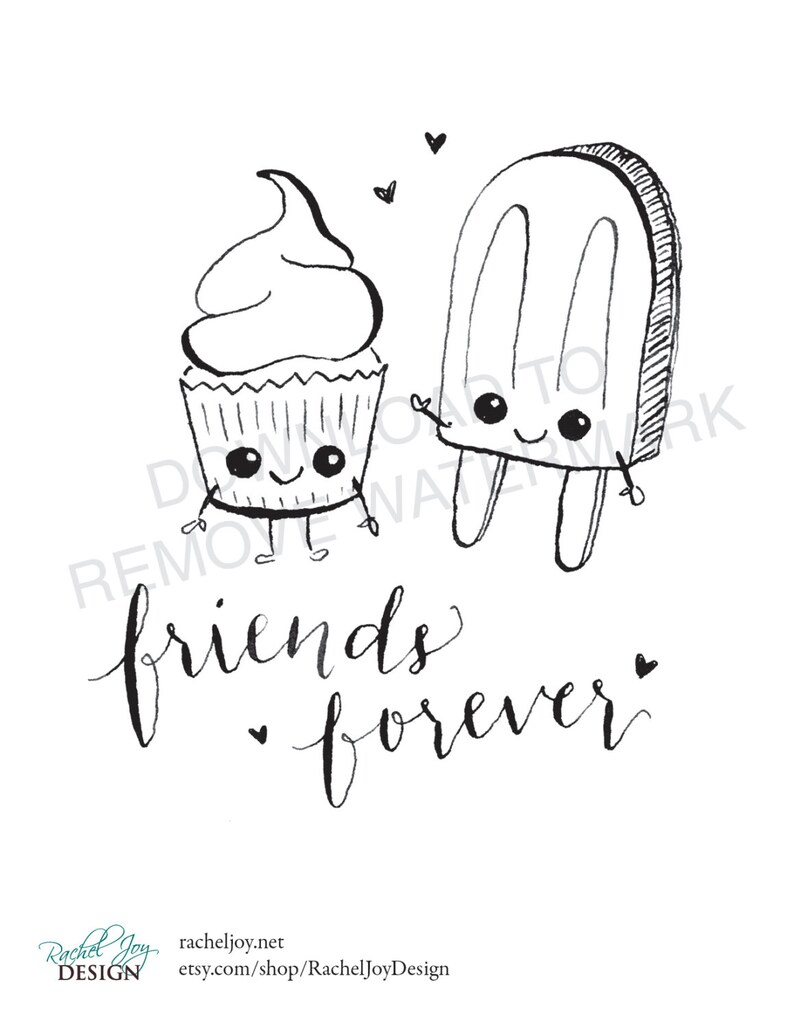 Friends Forever Cupcake Popsicle Coloring Page Plus Bonus Etsy