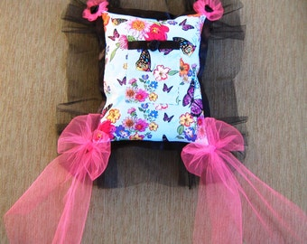 """Turquoise Butterfly Tooth Fairy Pillow---""""Papillon"""" and """"Mariposa"""""""