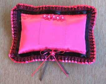 """Hot Pink Tooth Fairy Pillow with Pleated Ruffle---""""Barracuda"""""""
