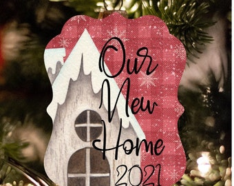 New Home Ornament, 2021 New Home, Ornaments, Christmas Decor, Name Ornaments, Farmhouse Christmas Ornaments