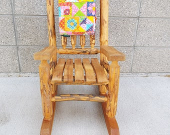 Rustic Farmhouse Artisan Lodgepole Pine Handcrafted Toddler Rocking Chair