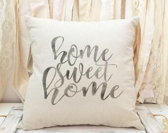 Home Sweet Home pillow COVER - housewarming gift - farmhouse pillow - natural canvas - wedding gift