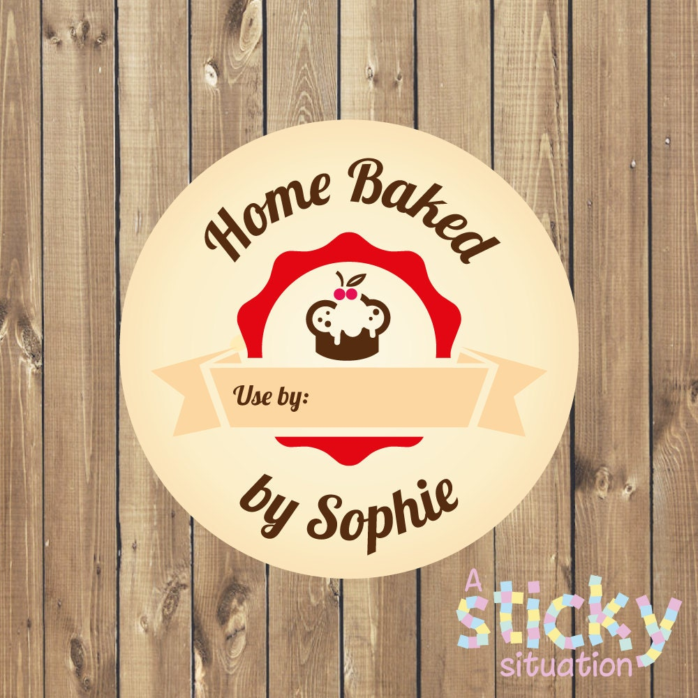Personalized baked with love stickers home baked stickers baking labels personalized baking stickers gift for baker home made handmade