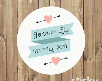 Personalized Wedding Stickers, Wedding Labels, Wedding Favor Stickers, Engagement Stickers, Custom Stickers, Wedding Favour, Save the Date
