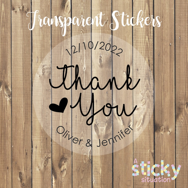 Thanks Wedding Label Wedding Favor Stickers Thank You Sticker Clear Wedding Stickers Transparent Wedding Stickers See Through Sticker