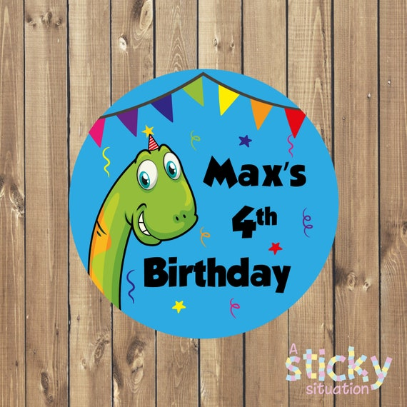 birthday OD Sweet Cone Labels Personalised Dinosaur Party Bag Stickers