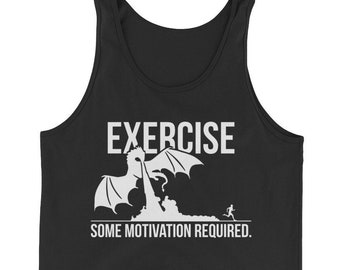 Exercise, Some Motivation Required, Dragon, Funny, Gift For Bodybuilding, Weightlifting, Powerlifting, Crossfit, Fitness, Workout, Gym Tank