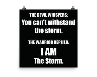 Warrior, I AM The Storm, Gym Poster, Motivational Prints, Gift For Bodybuilding, Weightlifting, Powerlifting, Crossfit, Fitness, Workout