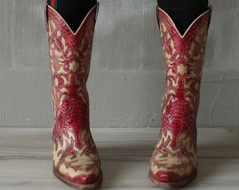 Vtg Burgundy Red Shoes Boots 36 EU Python Leather Western Cowboy Mexican Gypsy Boots/Folk Hipster Grunge Rider Steampunk Extravagant Shoes