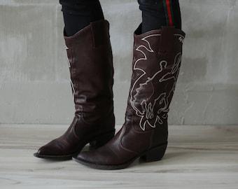 7dd741a0064379 VTG Schwarz Schuhe Stiefel 36-38 EU echt Leder westlichen Cowboy  mexikanischen Gypsy Stiefel Folk Hipster Grunge Reiter Steampunk  extravagante Schuhe