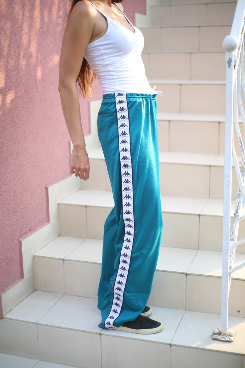Vintage Kappa Wide Pants 90s Turqoise Jogger Track Loose PantsVintage Waistband Street SweatpantsRetro Hipster Hip Hop Street  Swag