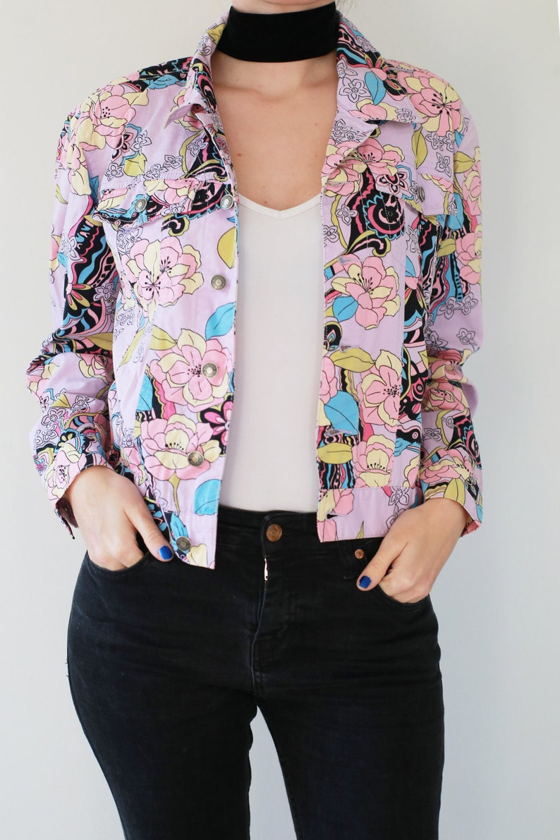c6dddb9d3 Woman Floral Spring Jean Jacket Trucker Woman Light Violet | Etsy