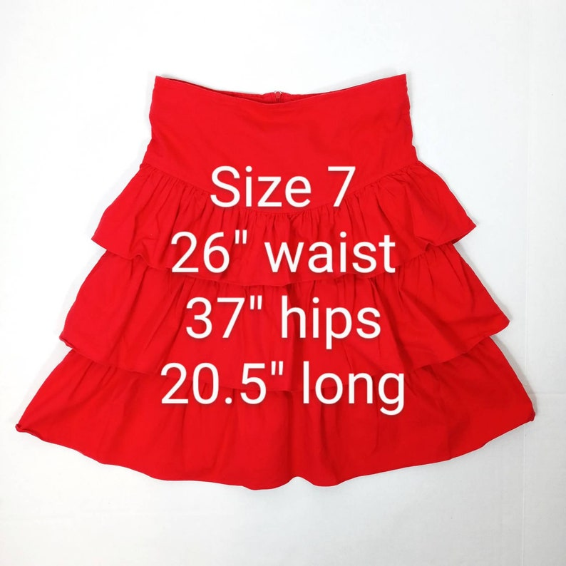 1980/'s Joni Blair Bright Red Triple Tiered Ruffled Party Skirt 26 Waist Vintage Junior size 7 Today/'s Size 2