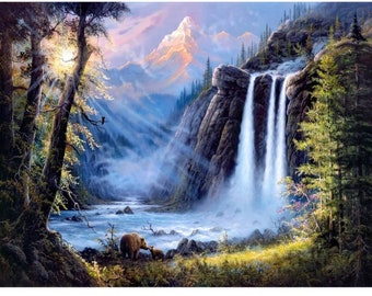 5D DIY Diamond Painting Kit 40cm X 30cm Full Round Drill Mountain Waterfall Cross Stitch Rhinestone Diamond Embroidery