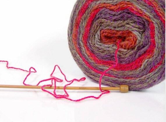 Brown Grey 874 yards Turkish Yarn  Light Wool Glitz Irridesent Maroon Red Purple Yarn Cake.