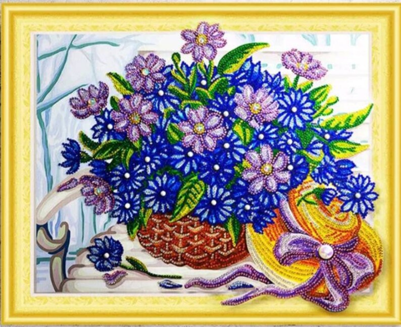 40cm X 30cm Special Shaped Diamond Painting Kit Partial Drill Flower Basket Diy Diamond Cross Stitch Embroidery Drill 5D DIY Home Decor
