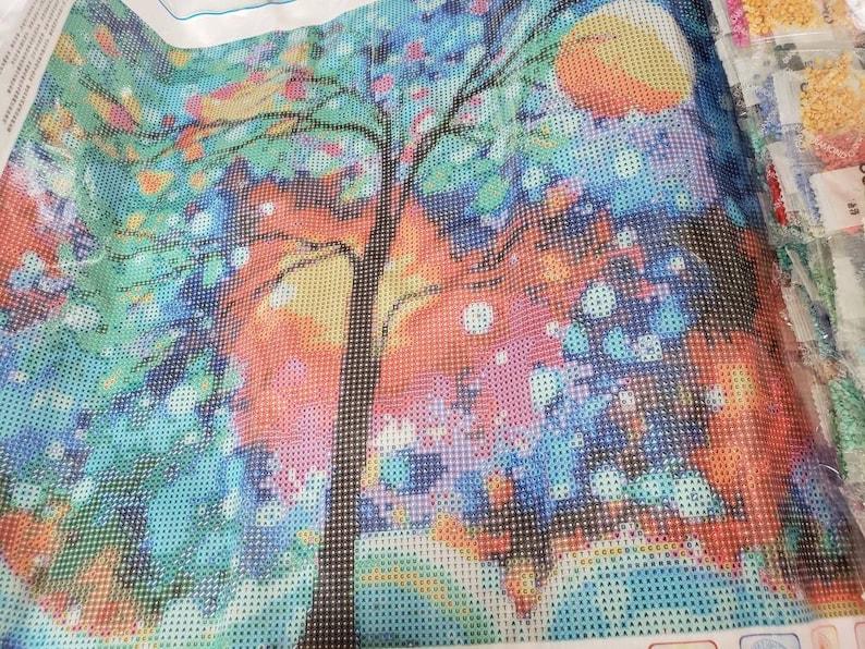 5D DIY Full Round Drill 50cm X 40cm Diamond Painting  Kit Abstract Tree Mosaic Home Decor
