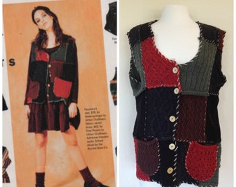 90s Vintage Anthropologie Patchwork Whipstitched 100% Wool Sweater Vest