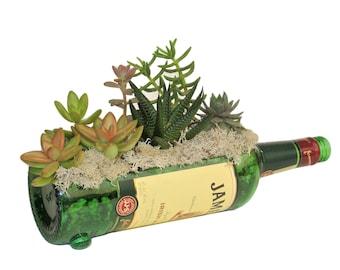 Jameson Whiskey Succulent Planter / Gift Ideas For Dad / Whisky Cut Bottle Alcohol Gift Bottle Garden Indoor Cactus Garden