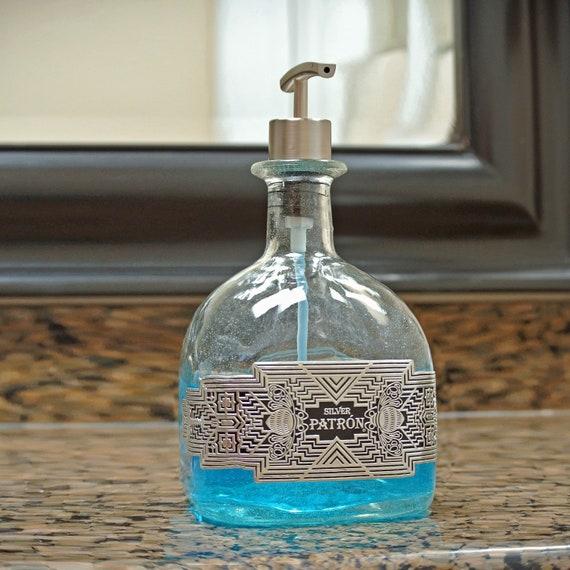 Patron Pump Soap Dispenser / Silver Patron Bottle / Recycled Patron / Glass  Soap Dispensers / Bathroom Kitchen Dish Hand