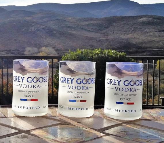 Insurance Image Three Grey Goose Vodka Rocks Glasses Glass Tumblers High Etsy