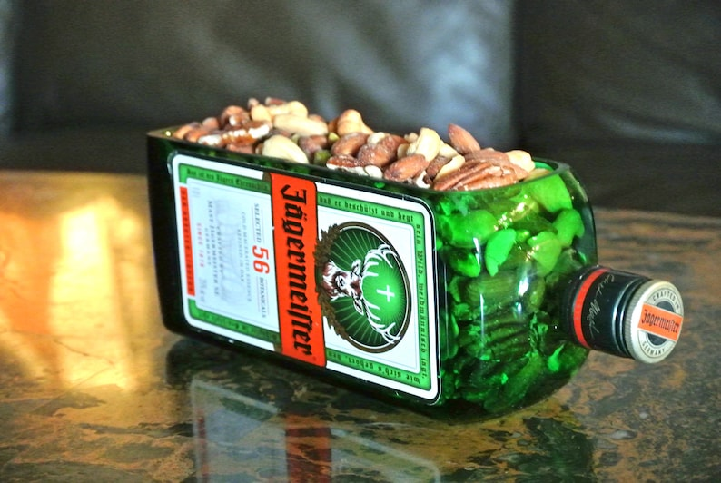494603517c4 Jagermeister Bottle Snack Dish   Green Glass Serving Dish Or