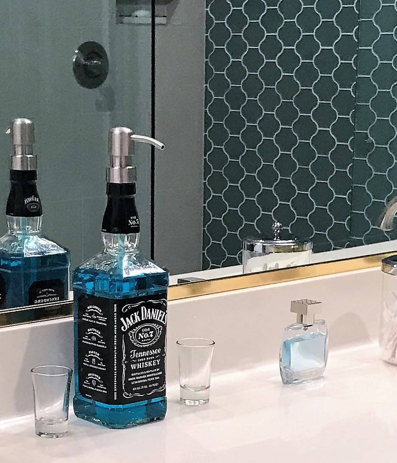 Clear Coat Jack Daniels Whiskey Soap Dispenser Glass Spray Bottle Kitchen Bathroom Soap Pump Bottle Jack Daniels Decor Dad Gifts Fs