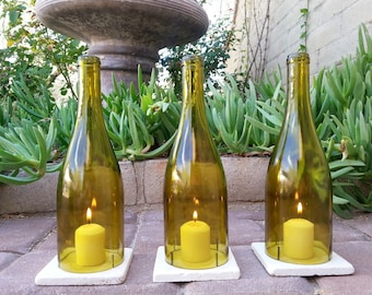 Wine Bottle Candle Holders WITH TILES / Wine Gifts / Candle Cover / Centerpieces / Hurricane Lamp / Lantern Winebottle / Outdoor Lighting