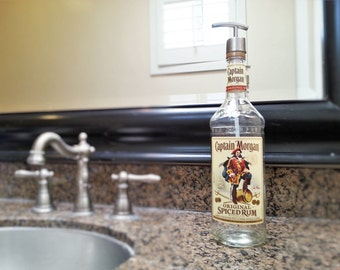 Captain Morgan Rum Bottle Soap Dispenser / Girlfriend Gift / Rum Gift / Glass Soap Dispensers / Lotion / Bar Decor / Alcohol Gifts / Pirate